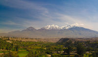 Panoramic view to Chachani mountain and Arequipa city from Yanahuara viewpoint, Arequipa, Peru