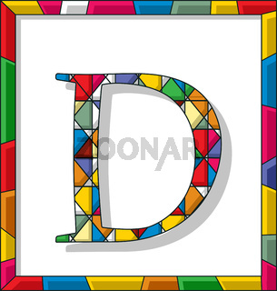 Letter D in stained glass