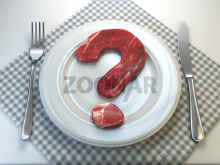 Plate with raw meat in the shape of a question mark. Concept of diet and healthy nutrition or to eat a meat or to be vegetarian concept.