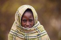 Ethiopian shepherdess girl, Simien Mountains, Ethiopia