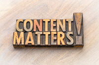 content matters - word abstract in vintage wood type