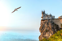 Beautiful Swallow Nest castle on the rock by the Black Sea, Crimea, Ukraine