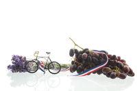 Biking in France on white background