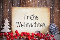 Paper With Text Frohe Weihnachten Means Merry Christmas, Snow