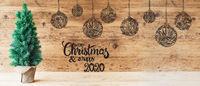 Christmas Tree, Ball Illustration, Merry Christmas And A Happy 2020