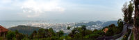 High up panoramic view from the Sky walk view point over looking Penang and George Town