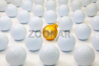 Pattern with white golf balls and gold Christmas decoration