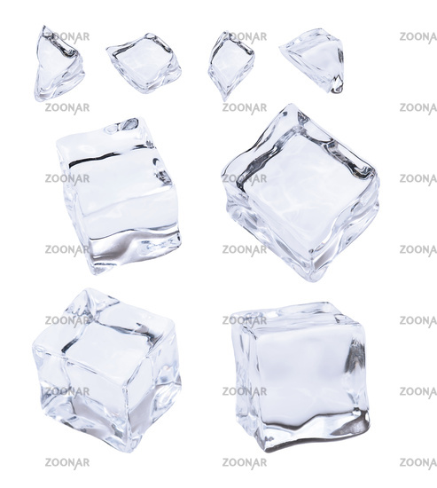 Ice and ice cubes, isolated on white