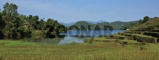Lake Begnas, terraced fields and forest. Landscape near Pokhara, Nepal.