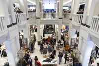 Interior of Zara store on Gran Via shopping street in Madrid, Spain..