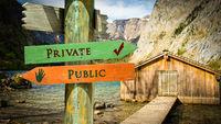 Street Sign Private versus Public