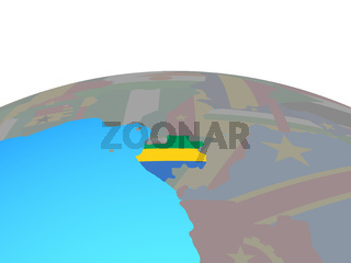 Map of Gabon with flag on globe