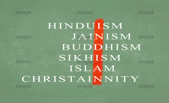 Concept of Unity in diversity of India showing with different religions on green chalkboard