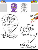 drawing and coloring worksheet with funny monster