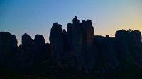 Dawn sky and silhouette of Meteora rocks