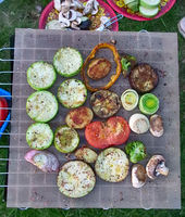 Grilled vegetable on a grill pan, top view