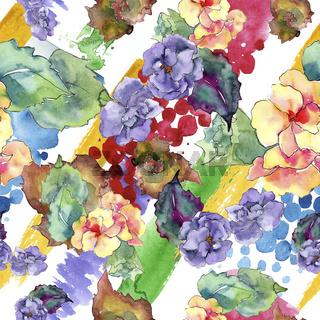 Purple and orange gardania flower. Floral botanical flower.Seamless background pattern.