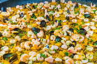 detail of the famous Spanish dish called Paella made with rice vegetables and seafood