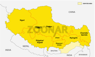 tibet administrative and political vector map with disputed border areas