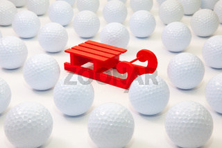 Pattern with white golf balls and Santa Claus red carriage
