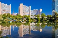 Vienna international center Kaiserwasser lake reflection view
