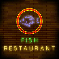 Colorful Neon Fish Restaurant Sign