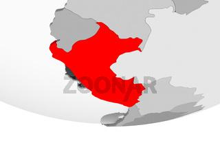 Map of Peru on grey political globe