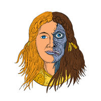 Hel Norse Goddess Face Front Drawing Color