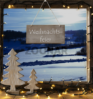 Window, Winter Landscape, Weihnachtsfeier Means Christmas Party
