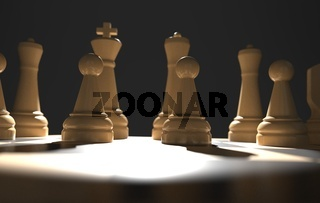 chess board game concept of business ideas and competition, strategy ideas concept white figures on dark 3d illustration