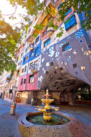 Colorful Hundertwasserhaus square architecture of Vienna view