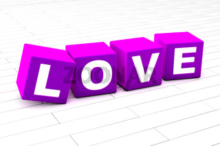 3D illustration of the word Love