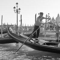 Gondolier drives his gondola