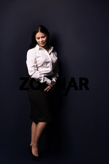 Full length portrait of a young beautiful businesswoman