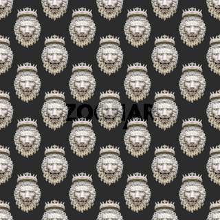 Lion Head With Crown Sculpture Pattern