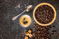 Coffee beans and espresso coffee.