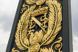 Golden Armorial bearings of Napoleon Bonaparte, gates in front of FONTAINEBLEAU Palace