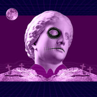 Halloween. Contemporary art concept collage with antique statue head in a surreal horror style.