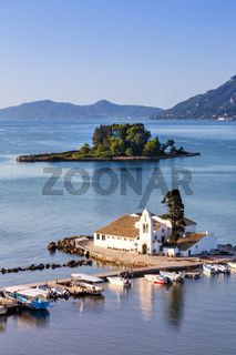 Korfu Corfu Griechenland Vlachernon Vlacherna Kirche Hochformat Kanoni Insel Reise reisen