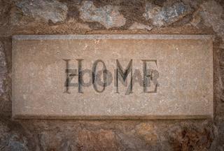 Spanish Villa Stone Home Sign