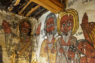 Portraits von Abba Samual und Abuna Kiros,Felsenkirche Petros and Paulos Melehayzengi,Äthiopien