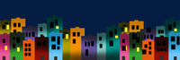 Digital illustration of city colourful buildings at night