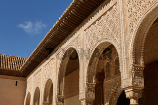 Decor within Courtyard of the Myrtles (Patio de los Arrayanes) in La Alhambra, Granada, Spain