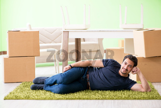 Man moving house with boxes