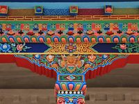 Detail of a colorful painted column of a monastry in Nepal. Shyaphru Besi, Langtang National Park.