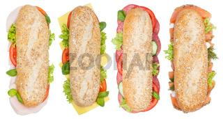 Brötchen Sandwich Vollkorn Baguette belegt mit Käse Salami Schinken Lachs Fisch von oben freigestellt Freisteller
