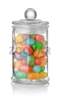 Glass jar full of colorful hard candies