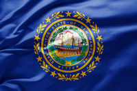 Waving state flag of New Hampshire - United States of America