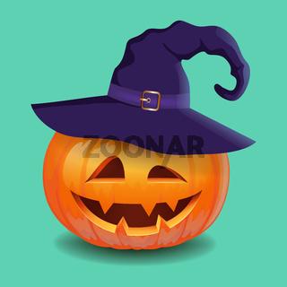 Halloween pumpkin face - creepy smile Jack o lantern in magic hat