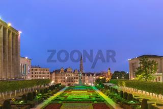 Brussels Belgium, night city skyline at Mont des Arts Garden